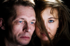 Man en vrouw die op zwarte wordt geïsoleerdl Royalty-vrije Stock Afbeelding