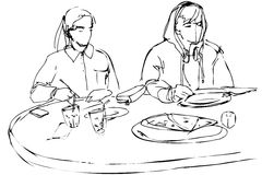 Man en vrouw die pizza eten bij een koffie Stock Afbeelding