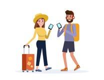 Man en Vrouw die samen reizen Het gebruiken van Smartphone voor onderzoek en het lezen van overzichten royalty-vrije illustratie