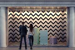 Man en vrouw die storefront bekijken Stock Illustratie