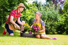 Man en vrouw die in tuin bloemen planten Stock Foto's