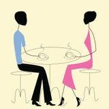 Man en vrouw in een koffie Royalty-vrije Stock Afbeeldingen