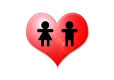 Man en vrouw in hart Stock Afbeeldingen