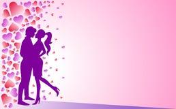 Man en vrouw, liefde en Romaans Lilac achtergrond en harten stock illustratie