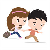 Man en vrouw met bagage, paar die aan rond de wereld reizen Stock Afbeeldingen