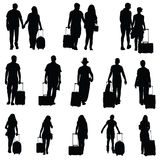 Man en vrouw met de zwarte van de reiszak Stock Afbeelding