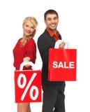 Man en vrouw met het winkelen zak Royalty-vrije Stock Afbeelding