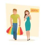 Man en vrouw met het winkelen zakken stock illustratie