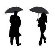 Man en vrouw met paraplu royalty-vrije illustratie