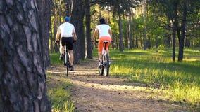Man en vrouwen de boswegen van fietsersritten stock footage
