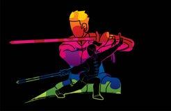 Man en vrouwen de vechter van Kung Fu, Vechtsporten met grafische het beeldverhaal van de wapensactie vector illustratie