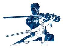 Man en vrouwen de vechter van Kung Fu, Vechtsporten met het beeldverhaal van de wapensactie royalty-vrije illustratie