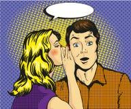 Man en vrouwen de vectorillustratie van het gefluisterpop-art Stock Afbeelding