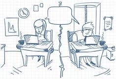 Man en Vrouwen het Babbelen Zitting bij Computers bij Krabbel van Bureau de Sociale Media Communication stock illustratie