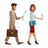 Man en vrouwen het lopen de koffer van de de documentenomslag van het bureauwerk Stock Foto's