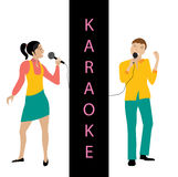 Man en vrouwen het zingen in microfoonvector Stock Foto