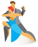 Man en vrouwen passionately het dansen tango Stock Afbeelding