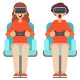 Man en vrouwenglazen van de gebruiks de virtuele werkelijkheid met controlemechanismen Vector illustratie royalty-vrije illustratie