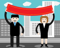 Man en vrouwengreep rode banner Stock Fotografie