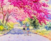 Man en vrouwenjogging in de ochtend, waterverf het schilderen Stock Fotografie