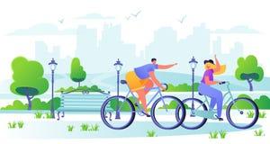 Man en vrouwenkarakters die fiets met stad berijden op de achtergrond A vector illustratie