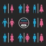 Man en Vrouwenkleurenteken vector illustratie
