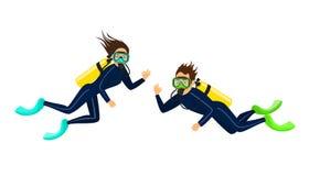 Man en vrouwenvrij duiken stock illustratie
