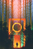 Man in the enchanted forest with fantasy gate. Illustration painting stock illustration
