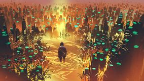Man in the enchanted swamp stock illustration
