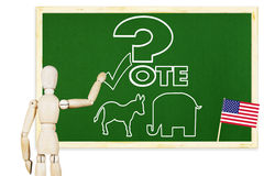 Man encourages to vote in elections Stock Photo