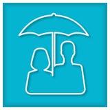 Man end woman under umbrella. Icon Royalty Free Stock Image