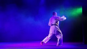 A man is engaged in karate on a background with colored smoke. HD stock video