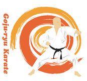 The man is engaged in karate on a bright backg Royalty Free Stock Image