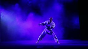 The man is engaged in karate - performs obdurations against the background of colored smoke. HD stock video footage