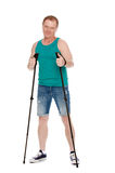 The man is engaged in Nordic walking stock photography
