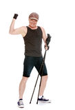 The man is engaged in Nordic walking