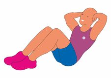 A man engaged in physical exercise, fitness classes, sports. Illustration with cute character vector illustration