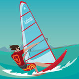 Man is engaged in windsurfing Royalty Free Stock Images