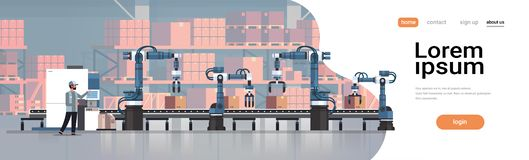 Man engineer controlling conveyor belt line robotic hands factory automation production manufacturing process concept. Warehouse storage interior horizontal stock illustration