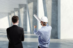 Man and engineer discussing project Royalty Free Stock Image
