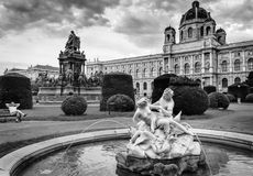 Man is enjoing Vienna. A man is sitting on the bench in the centre of Vienna and enjoing sights Royalty Free Stock Photo