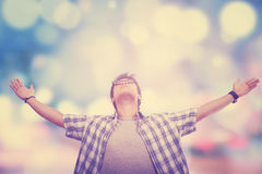 Man enjoy freedom with blur background Royalty Free Stock Photo