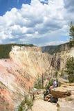 Man enjoying beautiful mountain view on hiking trip.. Stock Images