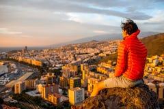 Man enjoying cityscape Stock Photo