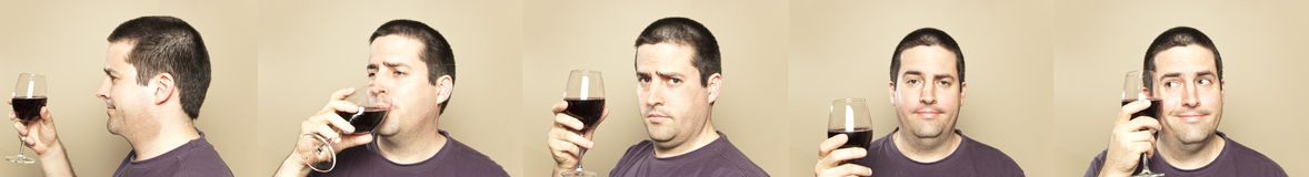 Man enjoying a glass of wine Stock Image