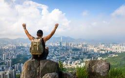 Man enjoying Hong Kong view from the Lion rock stock photo