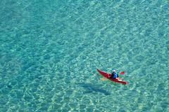 Kayaking, active water sport and leisure royalty free stock photography