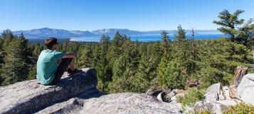 Man enjoying lake tahoe Stock Photo