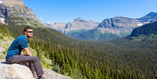 Man enjoying mountains in glacier national park Stock Photography