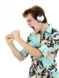 Man Enjoying Music Stock Images